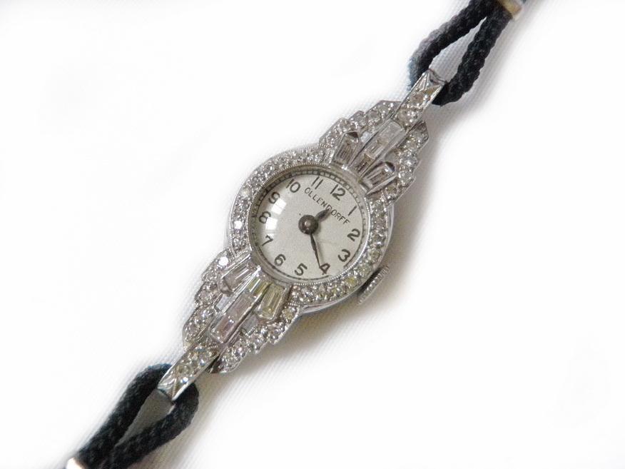Art Deco Ollendorf Watch 1.35 Carat Diamonds and Platinum