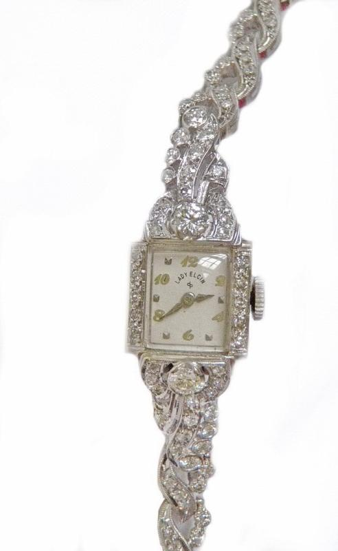 1950's Lord Elgin Ladies Watch 1.50 Carat Diamonds and White Gold