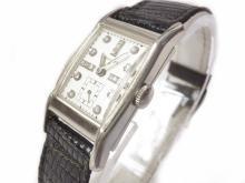 1940's Deco Longines Diamond, 14kt White Gold Watch Unisex Tank Style
