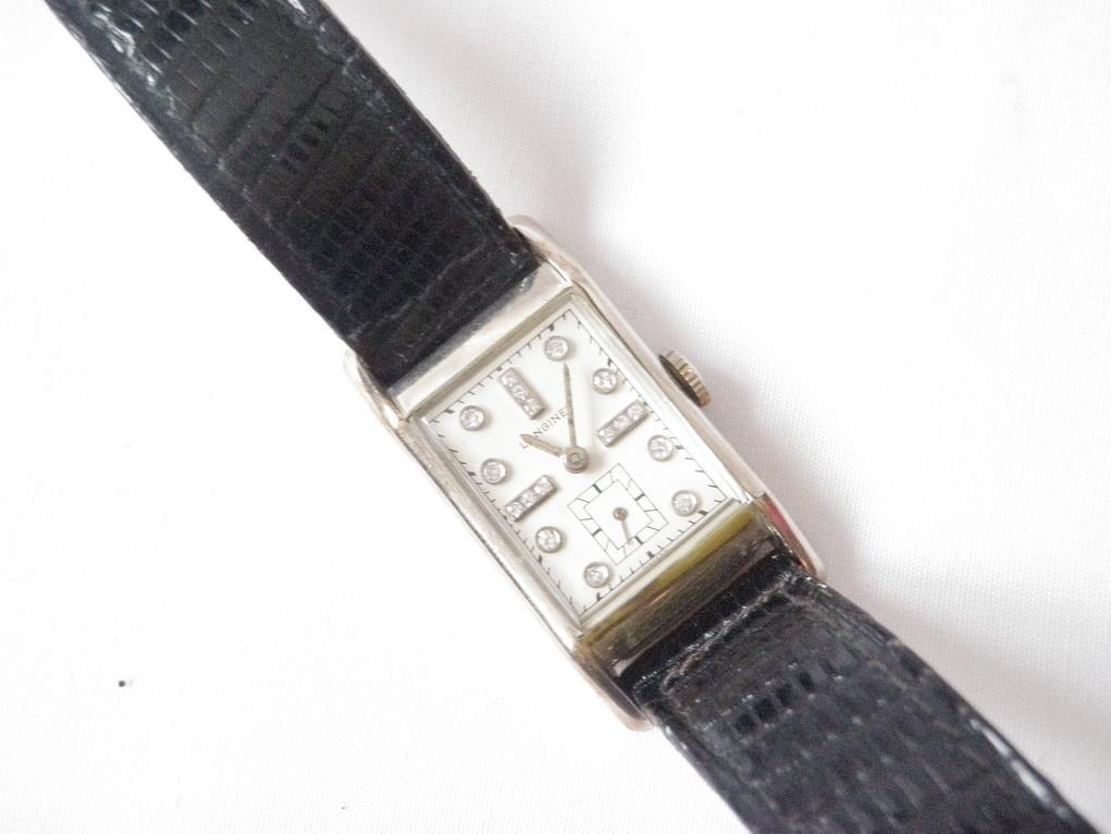 1940's Deco Longines Diamond, 14kt White Gold Watch Unisex Tank Style