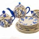 Art Deco Czech Bohemian Tea Set Hand Painted Tea Pot, Cream and Covered Sugar