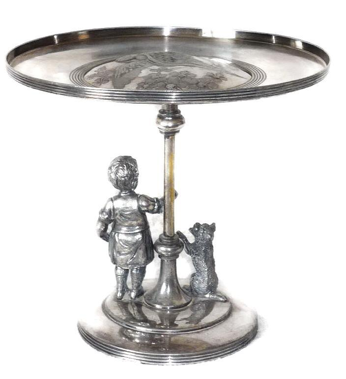 Kate Greenaway Meriden Quadruple Plate Figural Brides Basket, Cake Stand, Pastry Tray