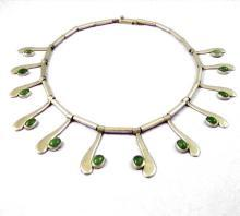 Vintage Sterling Silver Taxco Mexico Necklace Cabachon Nephrite Jade VSA Designer