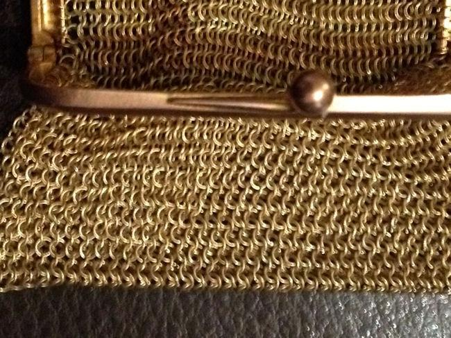 Sg'd Victorian Chatelaine Purse Solid 9t Yellow and Pink Gold Mesh Change Purse Pendant Necklace