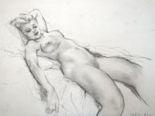 Vintage Art Fried Pal / Pal Friend Reclining Nude Woman  in Charcoal and Graphite