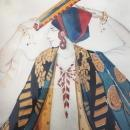 RARE Leon Baskt Diaghlev's Scheherezade Ballet Russes Watercolor Gouache Painting dated 1910
