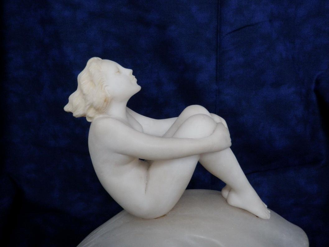 Art Deco Lamp Nude Woman Sitting on Seashell Marble Sculpture c. 1920'sLighting Home Decor