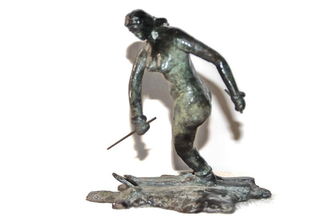 Nude Woman Skier Bronze Sculpture Art Deco Signed and Numbered