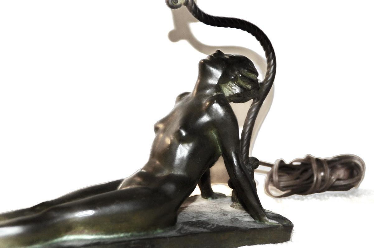 Art Deco Reclining Nude Flapper Woman Table Lamp c. 1926 Signed Electrolite Products Home Decor Lighting