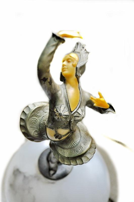 Art Deco Dancer Lamp on Alabster Dome RARE Polychrome Paint, Bone, Celluloid Face, Hands and Belly