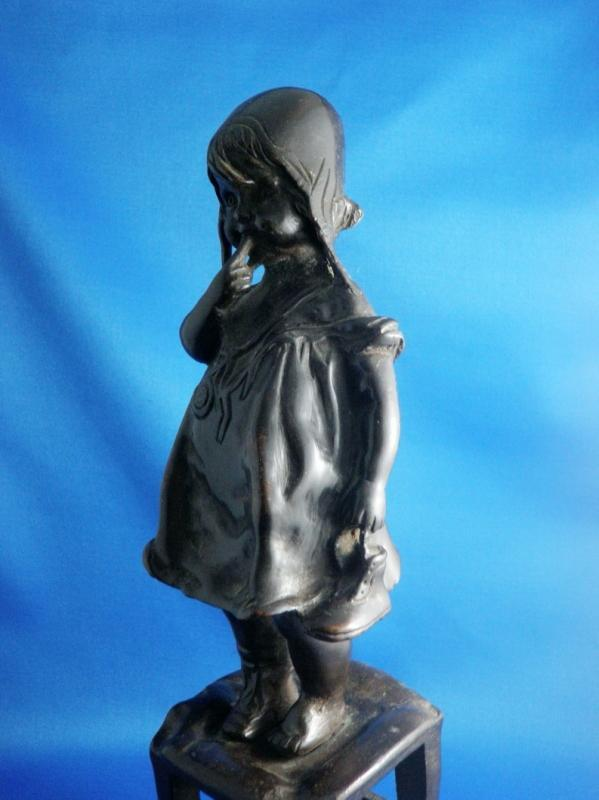 Vintage Bronze Sculpture by Juan Clara Little Girl Standing on a Stool 12 Inches Signed Home Decor