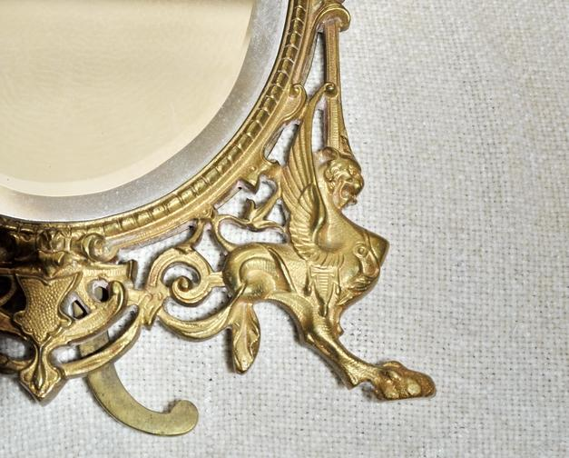 French Bronze Dore Mirror Frame Naploeon III Griffin's & Lady Head Easel Back Picture Frame