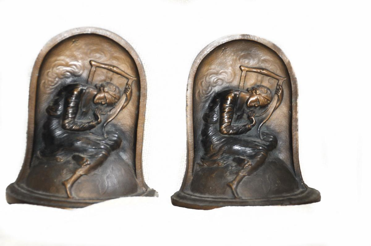 Art Deco Lady 'Hope' Bronzed Bookends by K & O George Frederic Watts Allegorical Painting