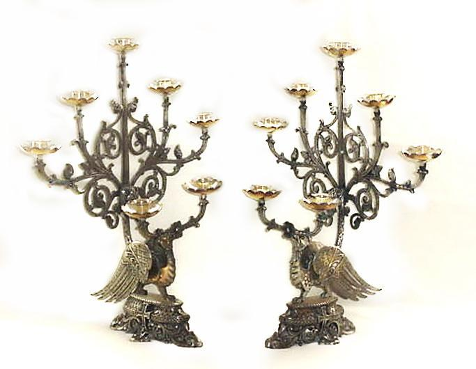 Pair (2) 19th Century Church Candelabra Candle Holders Phoenix, Griffin Crosses VERY RARE