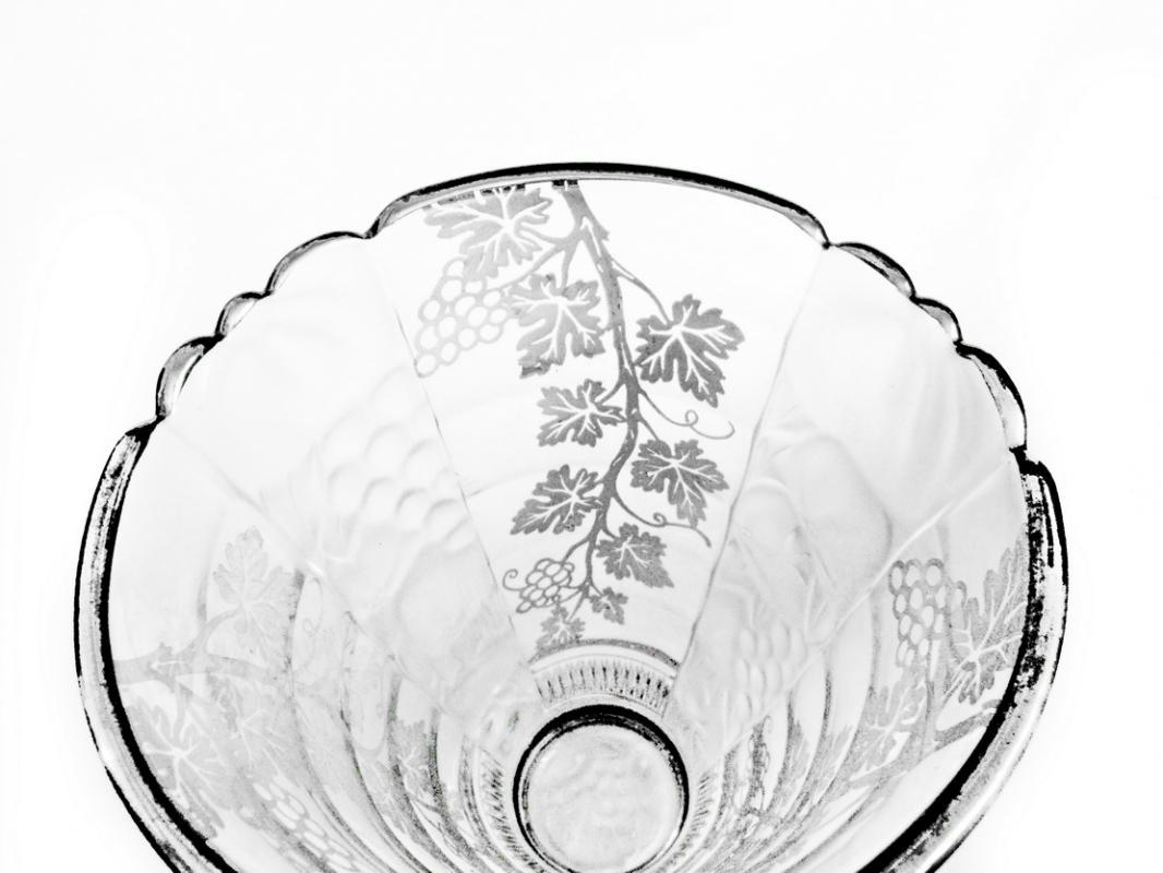 1900 - 1920 Val St. Lambert Belgian Crystal Vase with Silver Overlay and Opaque Glass