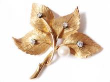 Vintage Brooch 14kt Solid Yellow Gold, Pearl Diamond 60's Vintage Leaf Pin High Fashion Jewelry