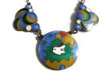 Vintage Necklace Guilloche Multi Coloured Intricately Detailed Enamel Art DecoHarlequin Bubble