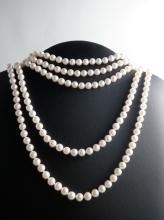 Necklace 5 Strand Soft Akoya Salt Water Cultured Pearl Necklace with Sterling Silver Heart Clasp