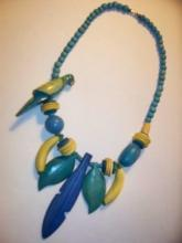 Hand Painted 1970's Wood Parrot - Bananas - Tropical Leaves & Round & Bugle Beads NEVER WORN-AS NEW Necklace