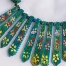 1970's Vintage Hand Painted  Wood Beads & Silver Tube Beads - Never Worn