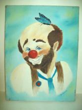 Orig.Artist Signed 'Oil Painting on Canvas.Clown & Blue Monarch Butterfly  FINE VTG. *free shipping