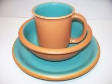 Crown Corning Sonora Aqua Terra Cotta Luncheon Salad Plate Bowl Mug Cup Japan