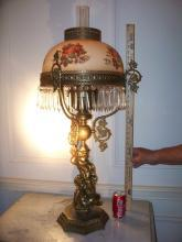 Antique Lamp:Kerosene Bronze Statue & Glass,  Crystal Prisms, Fleur  de Lis  RARE!   Shipping w/ *Full Value Shipping Insurance Included