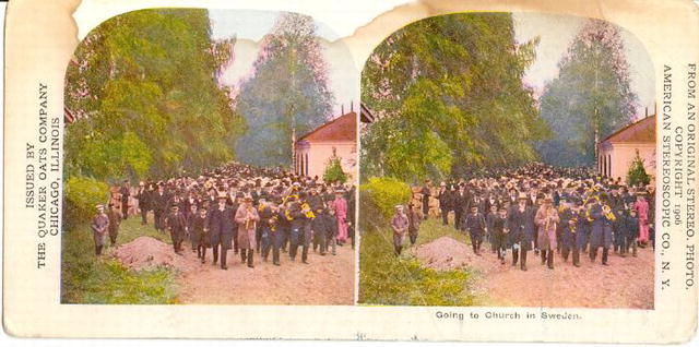 Stereoview Card - Going to Church in Sweden
