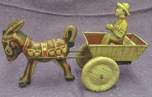 Old! Vintage MARX Bulky Mule w/ Rider Tin Litho Toy