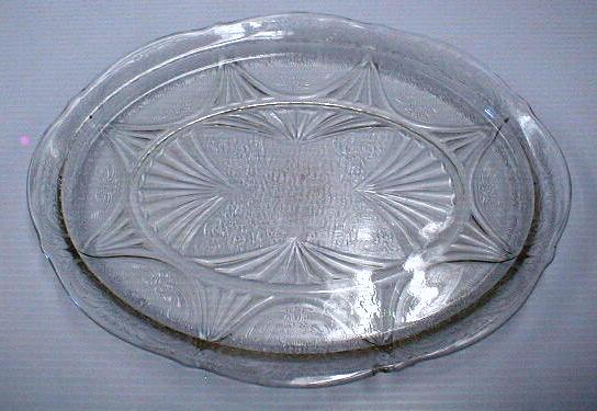 DEPRESSION GLASS Platter  - Clear Oval - OLD!