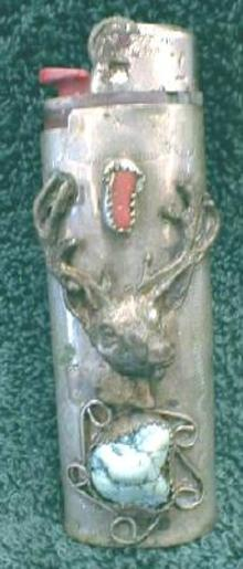 Silver Lighter Holder Deer Head & Stones - OLD