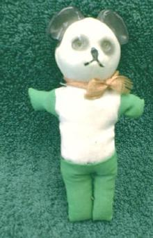 CELLULOID/ SAWDUST Teddy Panda Bear - CELLULOID Head - Antique