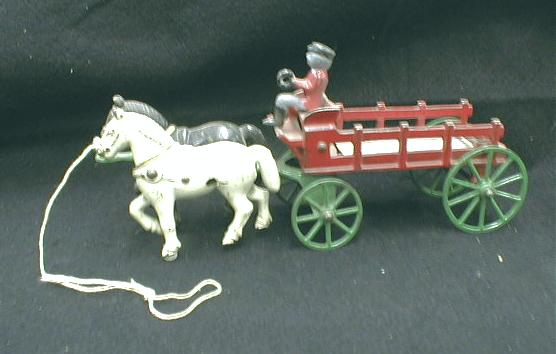 KENTON Horse Stake Wagon & Driver CAST IRON - Antique