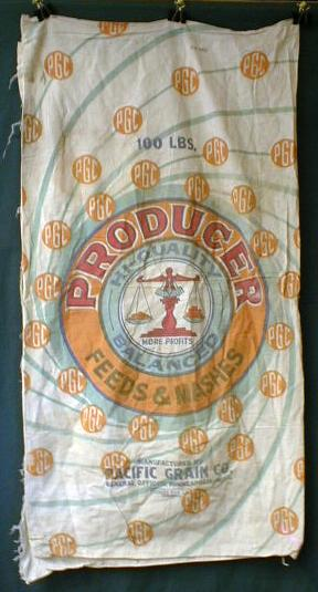 Cloth Feed Sack - PRODUCER Feeds & Mashes Old Colorful