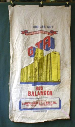 Cloth Feed Sack GTA Hog Balancer COLORFUL -  Old!