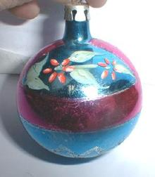 Glass Christmas Ornament w/ Poinsettia - OLD!