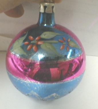 Glass Christmas Ornament w/ Poinsettia - OLD!