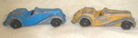 1950's Tootsietoy MG's 2 Old Vintage Toy Cars