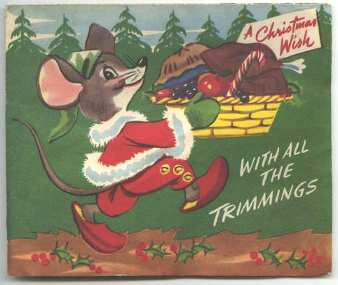 Old Christmas Greeting Card Foldout CUTE!