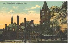 1915 Railroad Depot Milwaukee WI Post Card