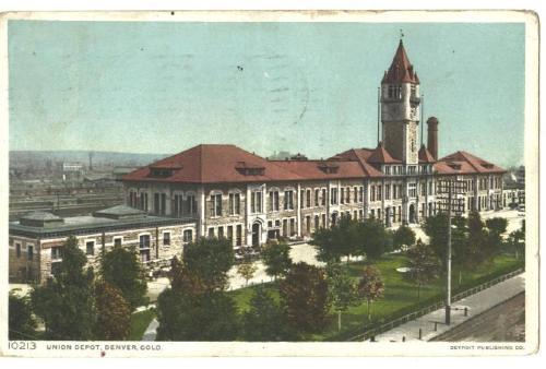 Railroad Union Depot Denver Colorado OLD 1911 Post Card