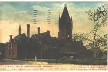 CM&StP Railroad Depot Milwaukee, WI - Old Post Card