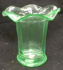 Depression Glass Vase - Old Vintage Green 1930-1940