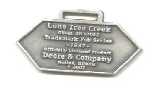 JOHN DEERE WATCH FOB 1937 Logo Fine Pewter