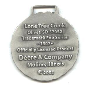 JOHN DEERE WATCH FOB 1907 Logo Fine Pewter