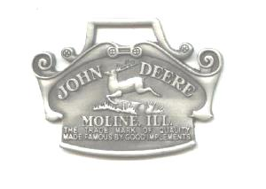 JOHN DEERE WATCH FOB 1912 Logo Fine Pewter