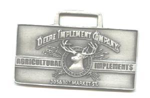 JOHN DEERE WATCH FOB 1889 Logo Fine Pewter