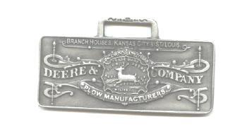JOHN DEERE WATCH FOB 1876 Kansas City Pewter
