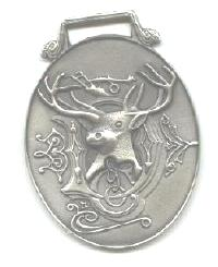 JOHN DEERE WATCH FOB 1880 Logo Fine Pewter