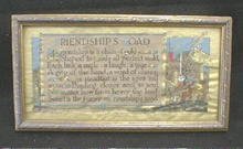 Framed FRIENDSHIP Picture Hand Colored w/ Gold OLD